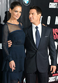 Katie Holmes with a sheer dress at Mission Impossible 4 premiere