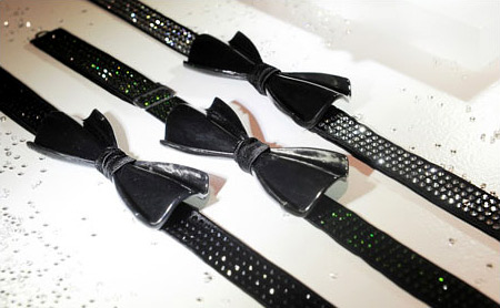 Carbon fiber ties with Swarovski crystals for men and women