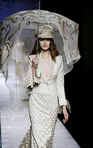 John Galliano embraced the Russian look at Paris Fashion Week yesterday